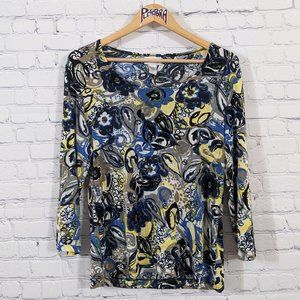 💎 Chico's Travelers Floral Top Sz 1 (8/M)